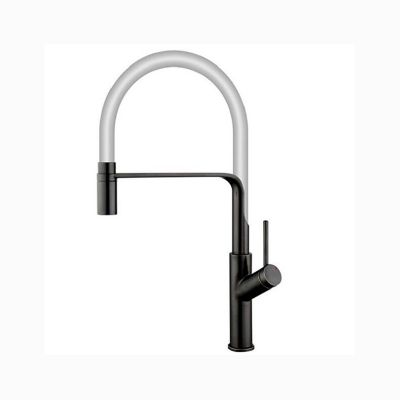 Black Kitchen Sink Faucet Sprayer with White Flexible Hose